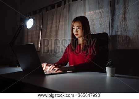 Asian Woman Working Late At Night With Laptop Computer Home Office Looking Screen Monitor Unhappy Wo