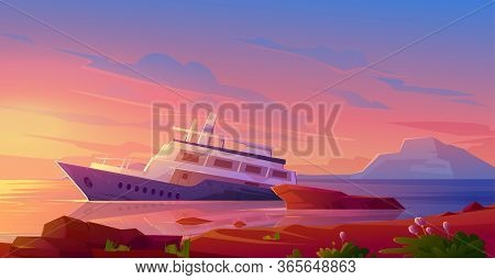 Sunken Cruise Ship In Ocean Harbor At Sunset. Vector Cartoon Illustration Of Tropical Summer Landsca