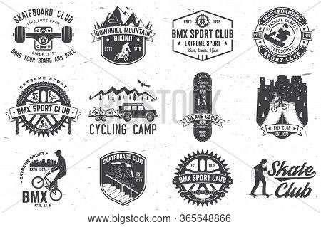 Set Of Bmx, Skateboard And Mtb Extreme Sport Club Badge. Vector Illustration. Concept For Shirt, Log