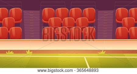 Seats On Sport Stadium With Soccer, Football Or Basketball Field. Vector Cartoon Illustration Of Emp