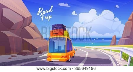 Road Trip By Car At Summer Vacation, Holidays Travel On Automobile With Bags On Roof Going At Highwa