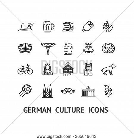 German Culture Sign Black Thin Line Icon Set Include Of Pretzel, Ball And Keg. Vector Illustration O