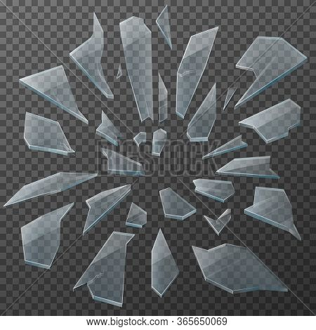 Broken Glass Shards Realistic Vector Design. Transparent Glass Debris Of Shattered Window, Crashed P
