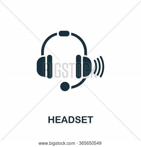 Headset Icon. Simple Illustration From Wireless Devices Collection. Creative Headset Icon For Web De