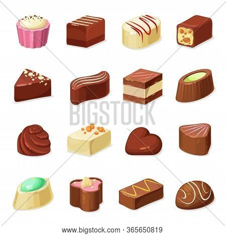 Chocolate Candy And Sweets Vector Design Of Dessert Food. Candy And Truffle Set With Dark, Milk And