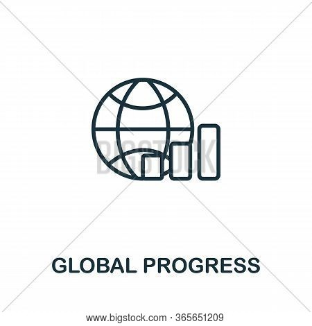 Global Progress Icon From Business Training Collection. Simple Line Global Progress Icon For Templat