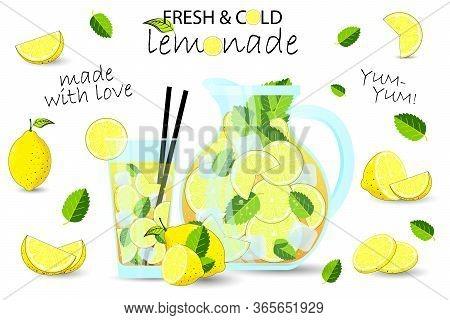 Lemonade Set. Lemon, Ice, Pitcher, Glass, Juicer.  Summer Drink Lemonade. A Glass Of Lemonade.