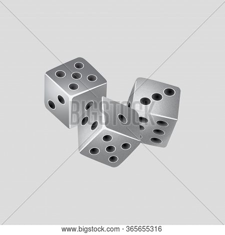 Trio Of Game Silver Dice With Grain Texture Over Gray Background