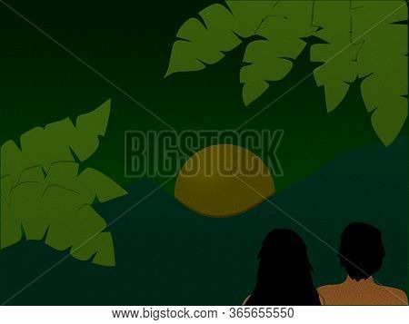 Hand Drawn Peaceful Scene Night View In Green Gradients And Grain Texture Of Mountains Green Leafs A