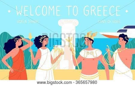 Greece Travel. Antique Places, Ancient Greek Architecture. Famous Tourism, Sea And Beach. Pantheon G