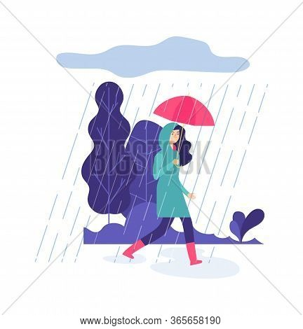 Autumn Rain. Park Walking, Springtime Rainy Day. Woman With Umbrella, Rubber Boots And Raincoat Vect
