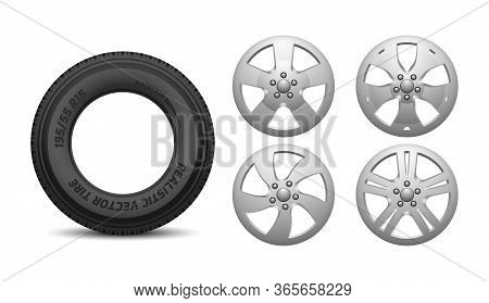 Car Rims And Tire. Isolated Realistic Rubber Wheels. Vehicle Service, Truck Wheels Repair Vector Ill