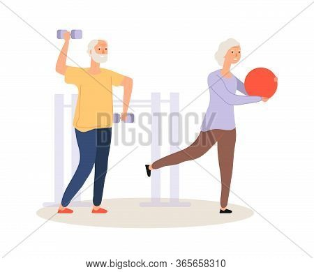 Elderly Active Life. Old People Training. Grandparents Fitness, Man And Woman Workout Vector Illustr