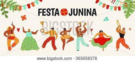 Festa Junina. Tradition Brazil Party. Dancing Carnaval, Latin June Celebration Poster. Summer Holida