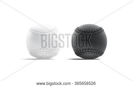 Blank Black And White Baseball Ball With Seam Mockup, Side View, 3d Rendering. Empty Circle Softball