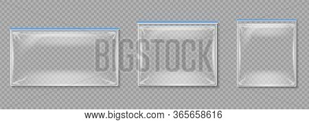 Plastic Pouches. Isolated Transparent Empty Folders With Zippers. Polyethylene Package Vector Mockup
