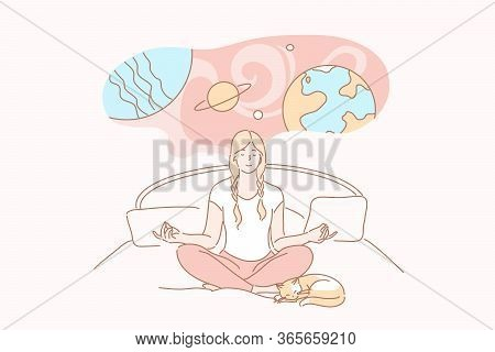Dream, Yoga, Meditation, Relax, Imagination Concept. Young Smiling Calm Woman Or Girl Cartoon Charac