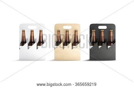 Blank Black, White And Craft Cardboard Holder For Bottle Mockup Set, 3d Rendering. Empty Paperboard