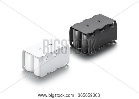 Blank Black And White Six Beer Can Cardboard Pack Mockup, 3d Rendering. Empty Canned Aluminum Tin In