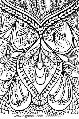 Ornament Coloring Book Anti Stress  Vector Outline Stroke  Retro Doodle Black And White Background