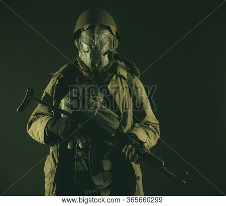Nuclear Post-apocalypse Survivor, Alternative History Nazi Soldier Or Partisan In Wool Field Cap, Fa