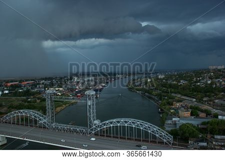 Rostov-on-don, Port And River. Rostov-on-don View Of The Don River. Rostov Drawbridge. Dark Stormy S