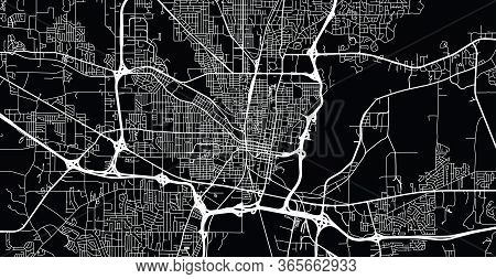Urban Vector City Map Of Jackson, Usa. Mississippi State Capital
