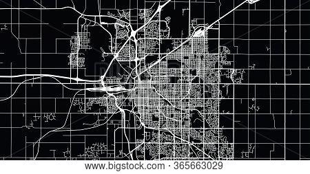 Urban Vector City Map Of Lincoln, Usa. Nebraska State Capital