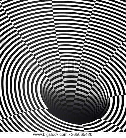 Black And White Vector Illustration Abstract Dark Open Hole
