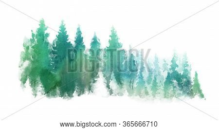 Green Landscape Of Foggy Forest Hill. Wild Nature, Frozen, Misty, Taiga. Horizontal Watercolor Backg
