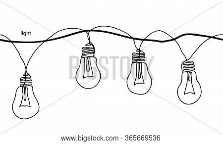 Lamps, Light Bulbs, Festoon, Garland, Glowing Light Vector Seamless Border. One Continuous Line Draw