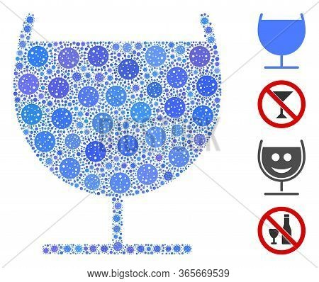 Collage Alcohol Glass United From Coronavirus Icons In Variable Sizes And Color Hues. Vector Pathoge