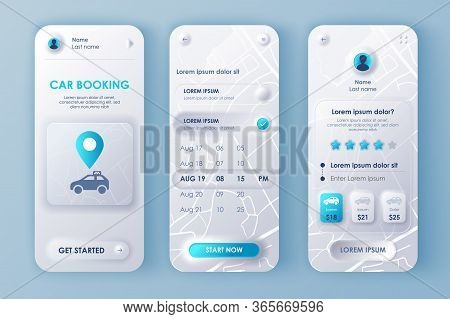 Car Booking Unique Neomorphic Design Kit For Mobile App Neomorphism Style. Online Rent Car Order Scr