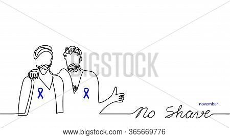 No Shave November Simple Banner, Background.vector Illustration. Men With Blue Ribbons. Prostate Can