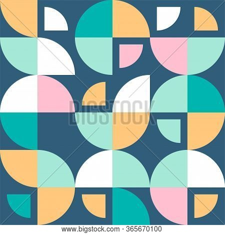 Scandinavian Abstract Pattern From Circles And Quarters. Vector Repeating Scandinavian Geometric Des
