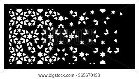 Decorative Vector Panel, Screen For Laser Cutting. Arabesque Laser Pattern. Islamic Template For Int
