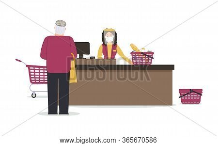 Grocery Store During Epidemic Of Virus.cashier In Protective Medical Mask And Shield Is Behind Cash