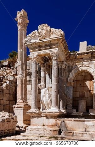 The Left Side Of The Fountain Antonine Nymphaeum With The Statue Of Dionysus  In The Ancient City Of