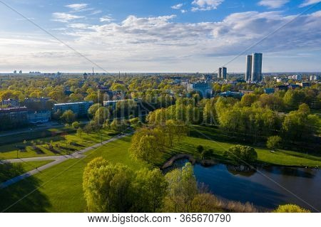 Aerial View Of The Victory Park In Riga, Latvia. Victory Monument. Latvians Are Taking Part In Proce