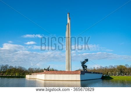 May 9, 2020. Riga, Latvia.  Vew Of The Victory Park In Riga, Latvia. Victory Monument. Latvians Are