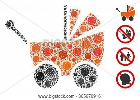 Mosaic Baby Carriage Constructed From Covid-2019 Virus Items In Various Sizes And Color Hues. Vector
