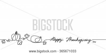 Happy Thanksgiving One Continuous Single Line Vector Illustration. Pumpkin, Maple Leaves, Turkey. Ca