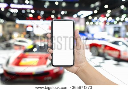 Mock Up Blank White Screen Mobile Phone For Automotive Advertisement. Hand Holding Smartphone With B