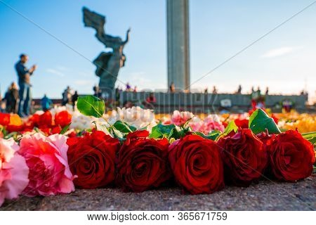 Riga, Latvia. May 9, 2020. Close Up View Of The Flowers Near Victory Park Monument In Riga, Latvia.