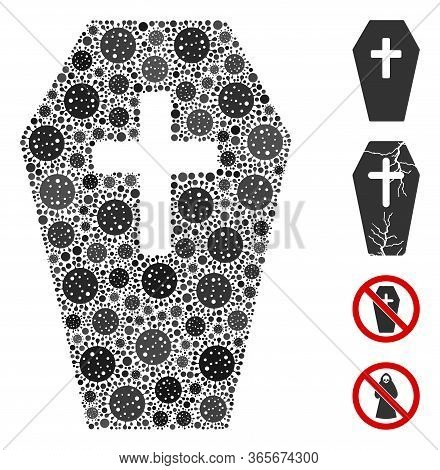 Collage Coffin Constructed From Flu Virus Icons In Variable Sizes And Color Hues. Vector Viral Icons