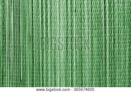 Straw Mat Texture In Green Tone. Abstract Architectural Background And Texture For Design.