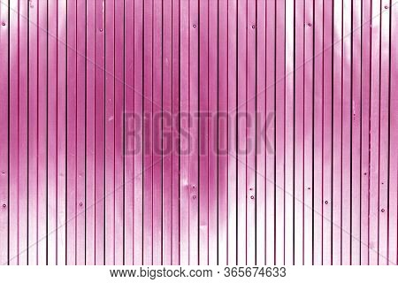 Metal List Wall Texture Of Fence In Pink Tone. Abstract Background And Texture For Design.