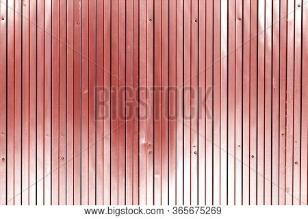 Metal List Wall Texture Of Fence In Red Tone. Abstract Background And Texture For Design.