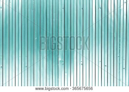 Metal List Wall Texture Of Fence In Cyan Tone. Abstract Background And Texture For Design.