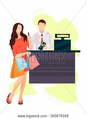 Girl At The Checkout Counter With Several Packages Pays With A Card Vector Illustration From Shoppin